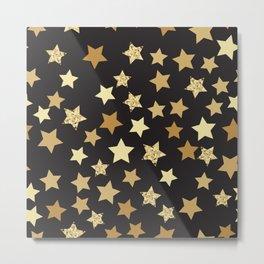 Golden Stars on Black Background Pattern Metal Print