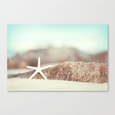 Starfish Beach Photography, Aqua Coastal Seashore Photo Canvas Print