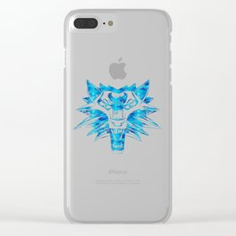 Wolf Head / Watercolor stencil art style wolf Clear iPhone Case