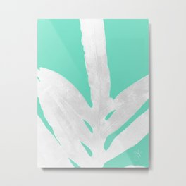 Green Fern on Ice Mint Green Inverted Silver Metal Print