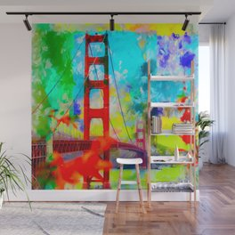 Golden Gate bridge, San Francisco, USA with blue yellow green painting abstract background Wall Mural