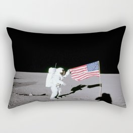 Apollo 12 - Astronaut American Flag Moon Rectangular Pillow