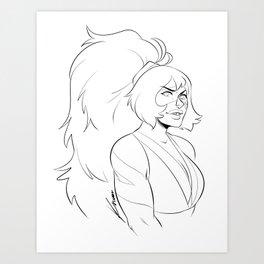 Jasper with ponytail Art Print