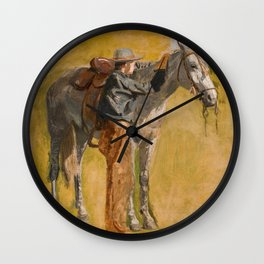 Cowboy: Study for Cowboys in the Badlands, 1887 Wall Clock
