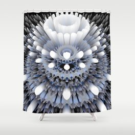 3D layers of mandala in blue-white-grey-black Shower Curtain
