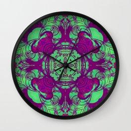 mandala 5 green purple #mandala Wall Clock
