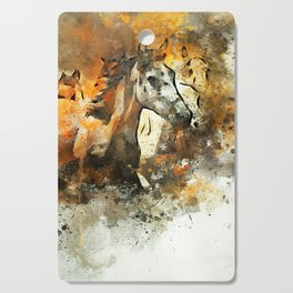 Watercolor Galloping Horses On Raw Canvas | Splatter Painting Cutting Board