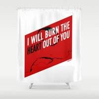 moriarty Shower Curtains featuring SHERLOCK Moriarty Print by Lauren Vaughn