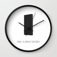 2001 Wall Clocks featuring 2001: a space odyssey by franznoise