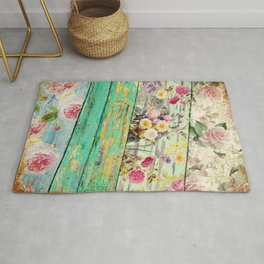 Villa Rosa Shabby Roses and Wood Rug