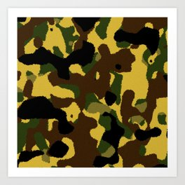 Abstract brown green black camo pattern Art Print