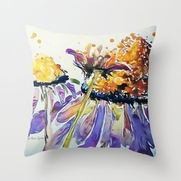 Poppin Purple Echinacea watercolor by CheyAnne Sexton Throw Pillow