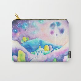Magical Moonscape - Fantasy Watercolor Landcape Mountains, Full Moon, & Trees Carry-All Pouch
