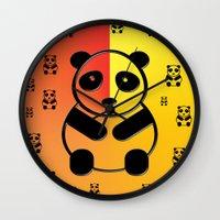 pandas Wall Clocks featuring Pandas by Gaspar Avila