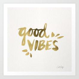 Good Vibes – Gold Ink Art Print