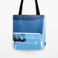 greek Tote Bags featuring Greek Holiday by Brian Raggatt