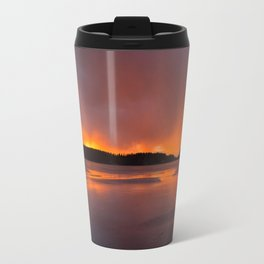Sunset With Orange Sky Reflections On The Icy Lake #decor #society6 #homedecor #buyart Travel Mug