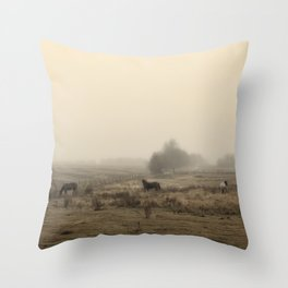 Horses in the Mist Throw Pillow
