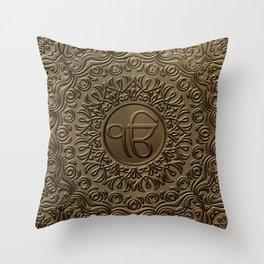 Decorative Ek Onkar / Ik Onkar  embossed on gold Throw Pillow