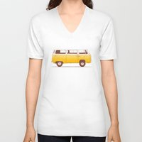 road V-neck T-shirts featuring Yellow Van by Florent Bodart / Speakerine