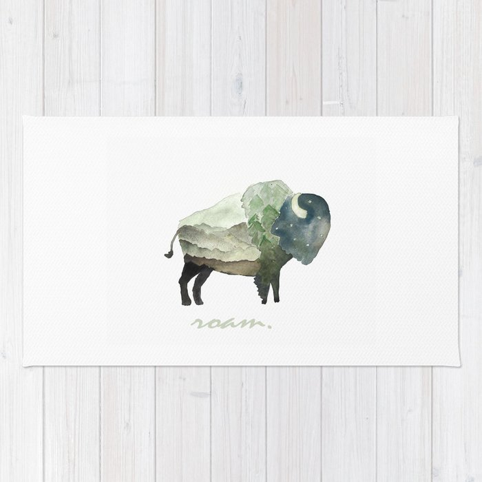 Buffalo Bison / Roam Wanderlust Adventure Travel / Rustic Woodland / Nursery / Gift / Watercolor Rug