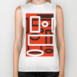 Red, Black and White Abstract Biker Tank