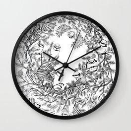 Birds tree botanical pattern Wall Clock