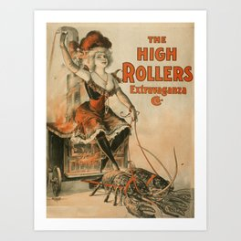 High Rollers Vintage Burlesque Roller Derby Art Print