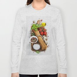 italian pasta with vegetables, herbs, spices, cheese and olive oil Long Sleeve T-shirt