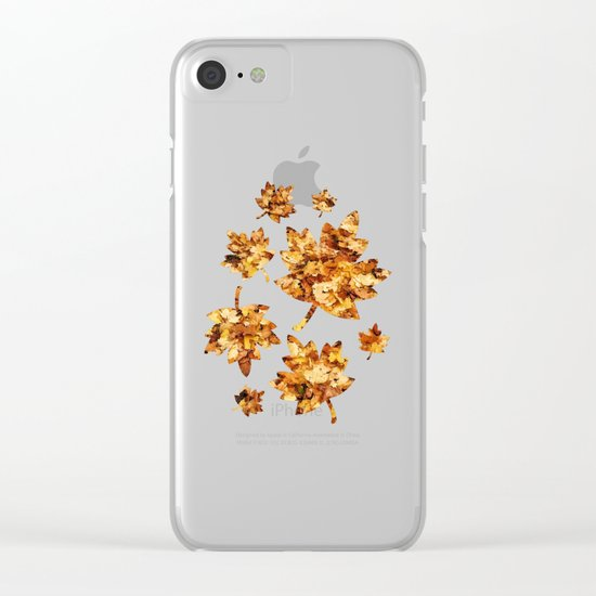 Gold yellow fall maple leaves Clear iPhone Case
