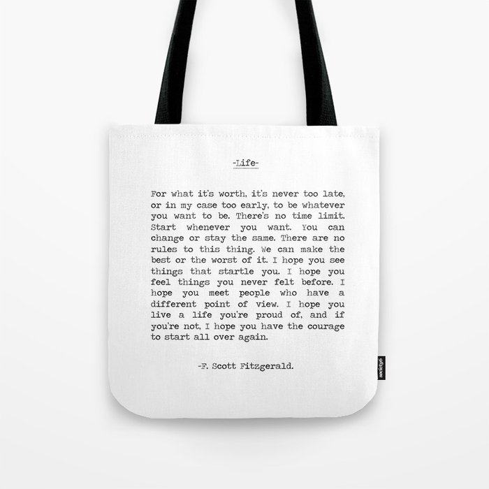 Life quote F. Scott Fitzgerald Tote Bag