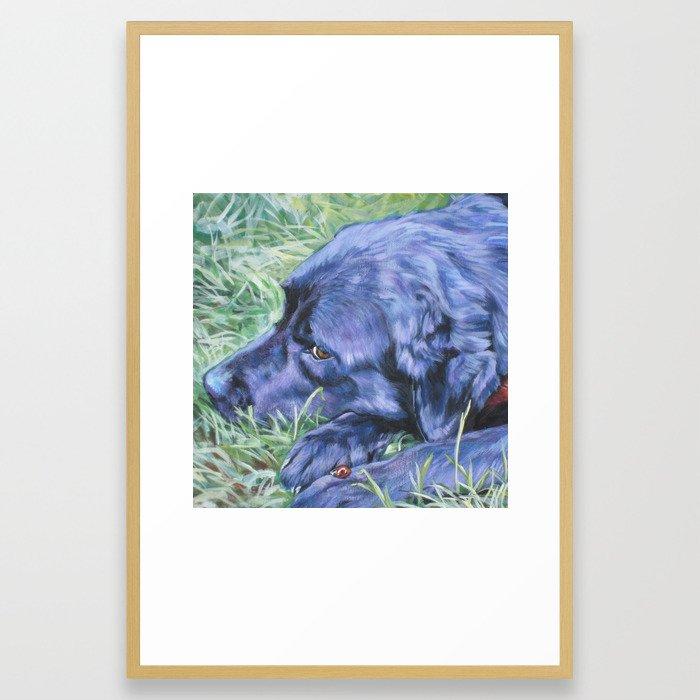 Black Lab LABRADOR RETRIEVER dog portrait painting by L.A.Shepard fine art Framed Art Print
