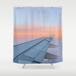 Airplane Sunset  Shower Curtain