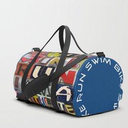 07 SWIM BIKE RUN I am a triathlete (blue) Duffle Bag