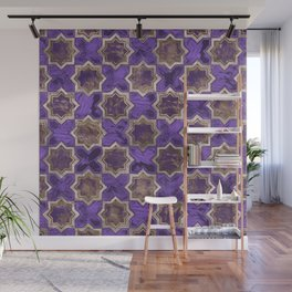Oriental Tile pattern - Purple Acrylic and Gold Wall Mural