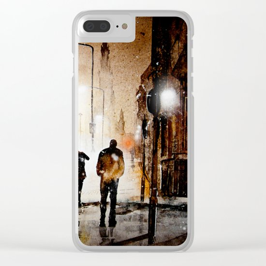 Britain's cold night in warm colors. Clear iPhone Case