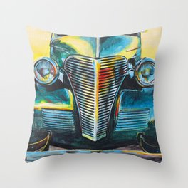 '38 Chevrolet Master Deluxe (Green roadster) Throw Pillow