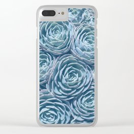 Blue and Green Succulent Clear iPhone Case