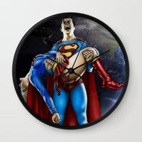 supergirl Wall Clocks featuring The death of Supergirl by Bungle