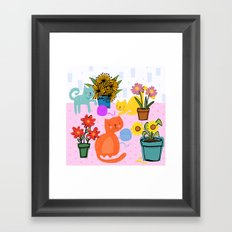 Three Curious Cats Framed Art Print