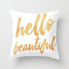 Hello Beautiful - Gold Typography Throw Pillow