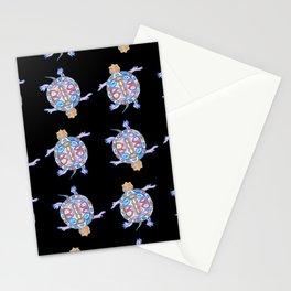 Sea Turtles - Black and blue folk design Stationery Cards