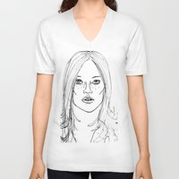 kate moss V-neck T-shirts featuring Kate Moss by Erika's Art Shoppe