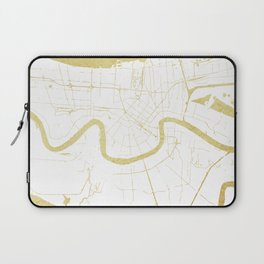New Orleans White and Gold Map Laptop Sleeve