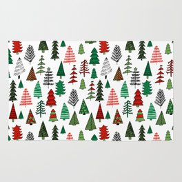 Christmas tree forest minimal scandi patterned holiday forest winter Rug