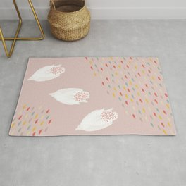 Pink Spring Watercolor with White Flowers Rug