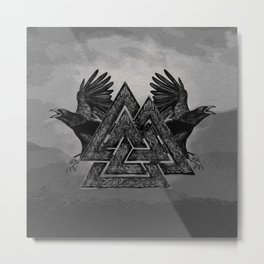 Valknut Symbol and Ravens Metal Print