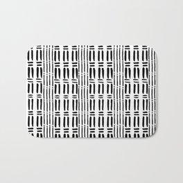 Black white hand painted watercolor brushstrokes pattern Bath Mat