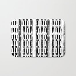 Black white hand painted watercolor brushstrokes pattern Bath Mat