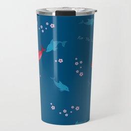Blue Dolphin and Red Shark Travel Mug